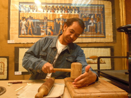 Demonstration of how Papyrus was made