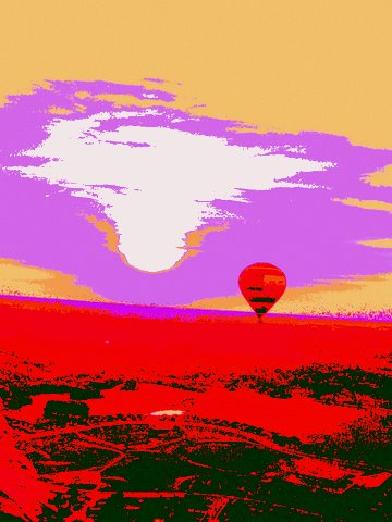 Digital art by Sol Siegel created  from photo of balloon ride 2007